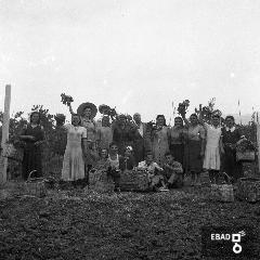 Contadine con cesti per la raccolta di uva